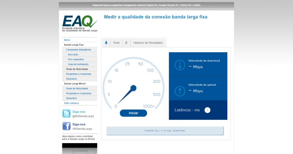 Medir a qualidade da conexão banda larga