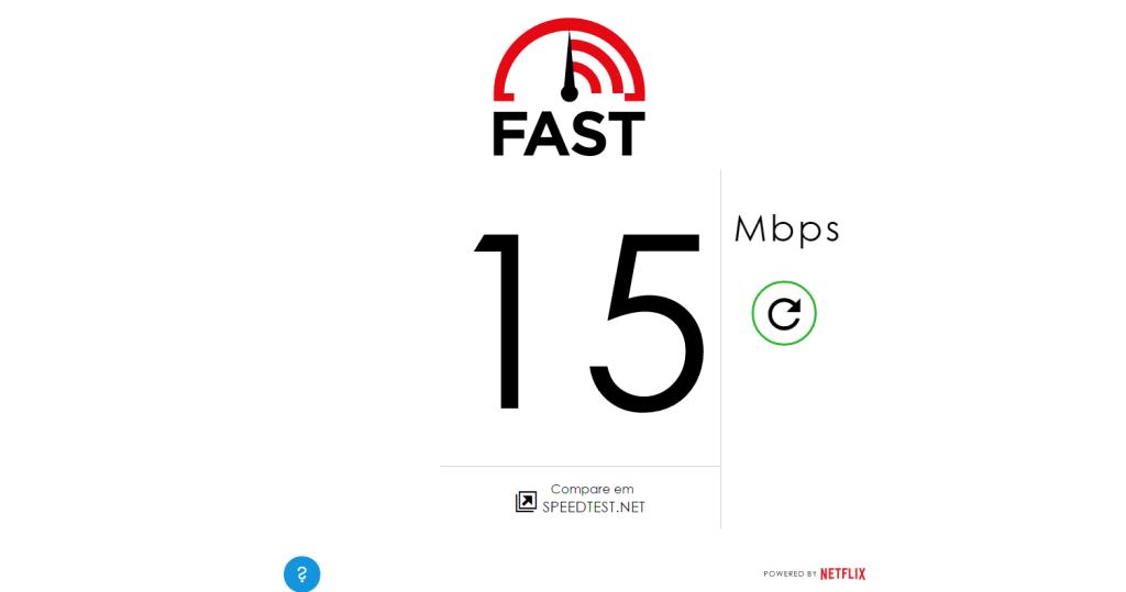 Teste de velocidade da internet Fast.com