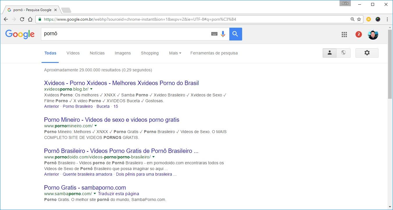 """Resultados da busca do Google para a palavra """"pornô""""."""