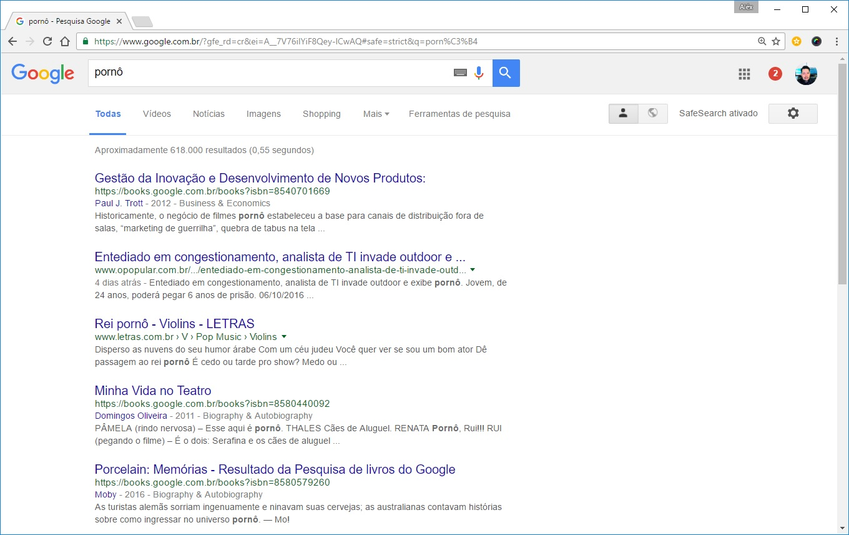 """Resultados das busca do Google para a palavra """"pornô"""", com o serviço SafeSearch ativado."""