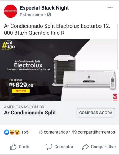 Exemplo de anúncio phishing da Americanas no Facebook - Ar condicionado Electrolux