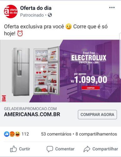 Exemplo de anúncio phishing da Americanas no Facebook - Geladeira Electrolux