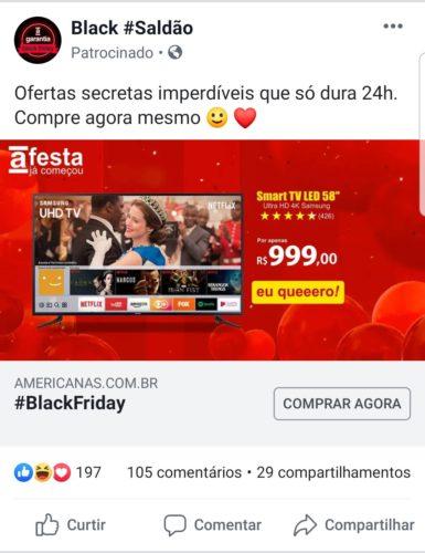 "Exemplo de anúncio phishing da Americanas no Facebook - TV Samsung 4K 58"""