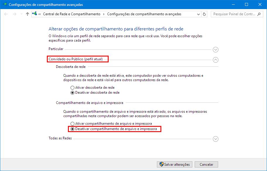 Configurações de compartilhamento avançadas - Convidado ou Público - Desativar compartilhamento de arquivo e impressora