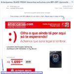 Exemplo de e-mail phishing Americanas