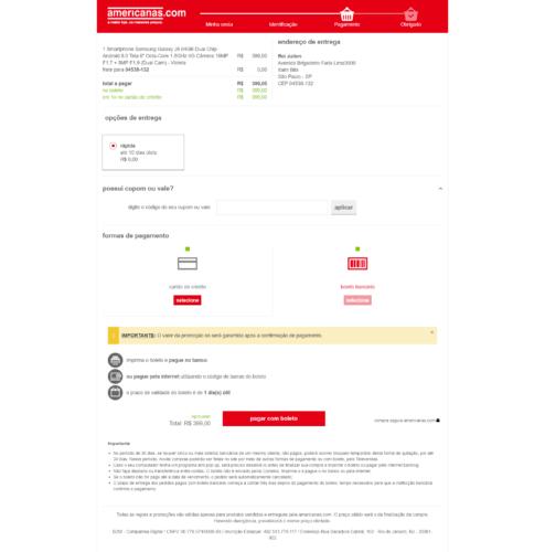 Seleção da forma de pagamento no site falso