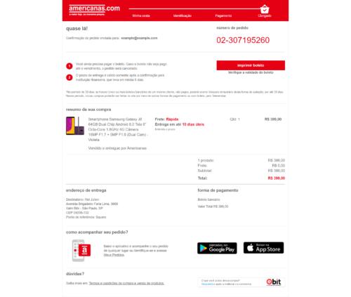 Site phishing - confirmação da compra