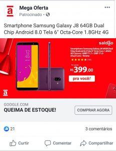 Exemplo de anúncio phishing da Americanas no Facebook - Samsung Galaxy J8