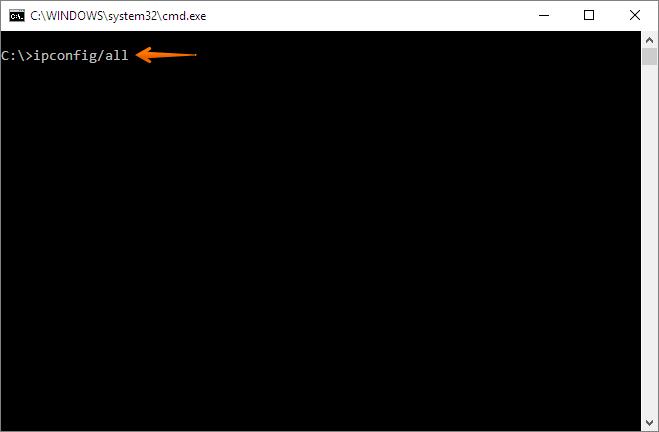 Prompt de comando do Windows com comando ipconfig/all