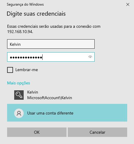 Informar usuário e senha do computador de destino