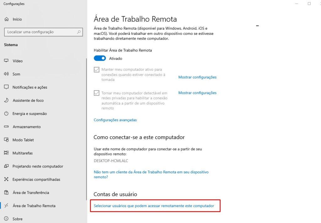 Selecionar usuários que podem acessar remotamente este computador