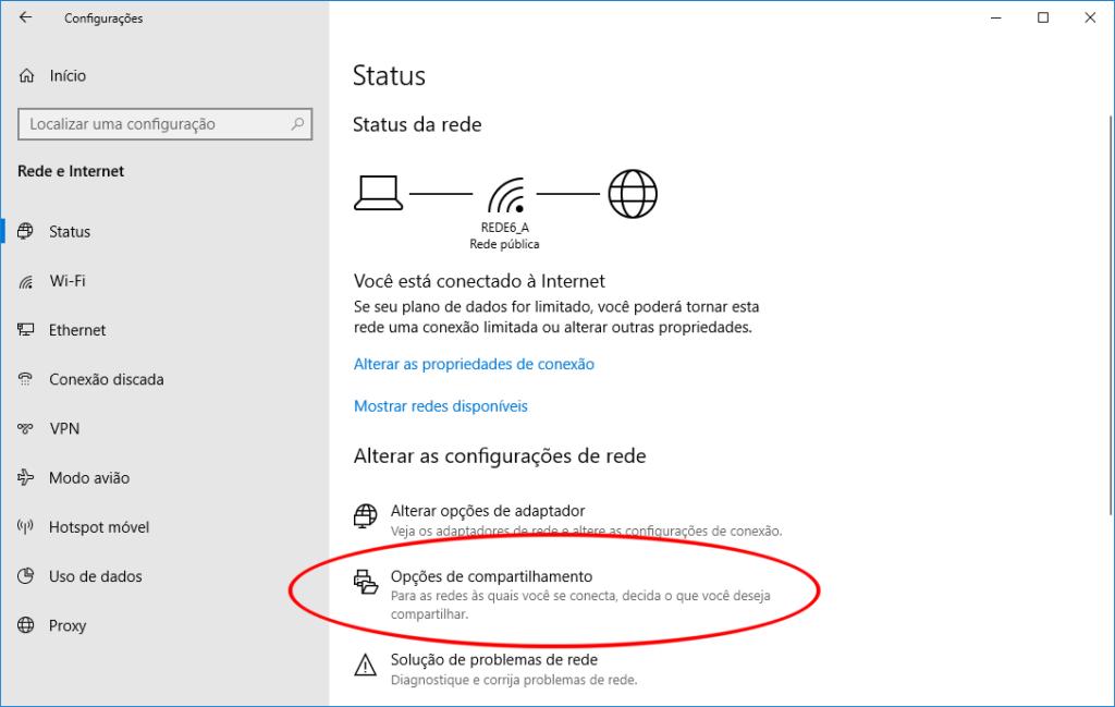 Windows 10 - Configurações de Rede e Internet - item Opções de compartilhamento
