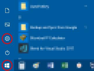 Windows 10 - Menu Iniciar - botão Configurações