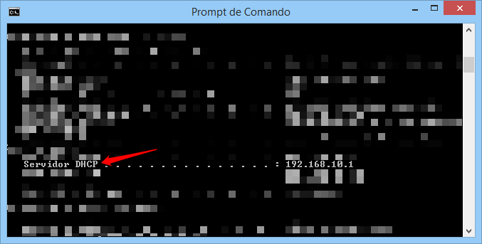 Prompt de comando do Windows com comando ipconfig/all e Servidor DHCP